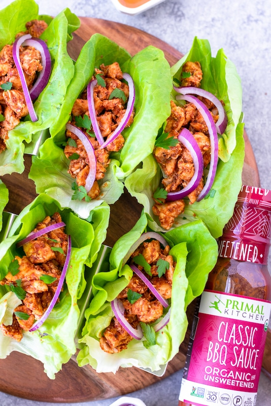 Lettuce wraps with primal kitchen bbq sauce