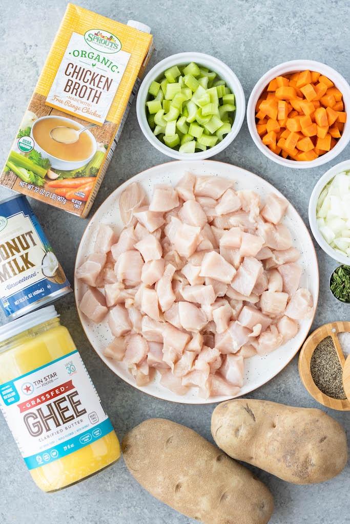 ingredients for dairy free chicken pot pie soup