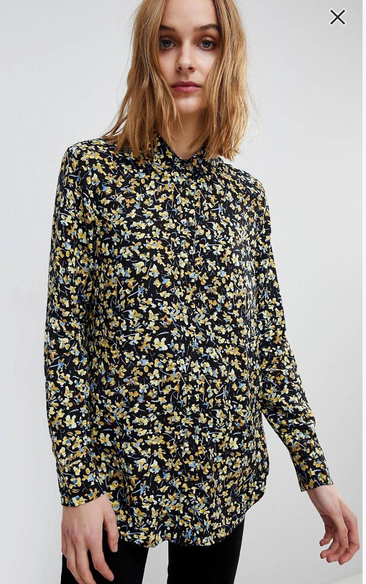 Warehouse Ditsy Marigold Floral Print Shirt