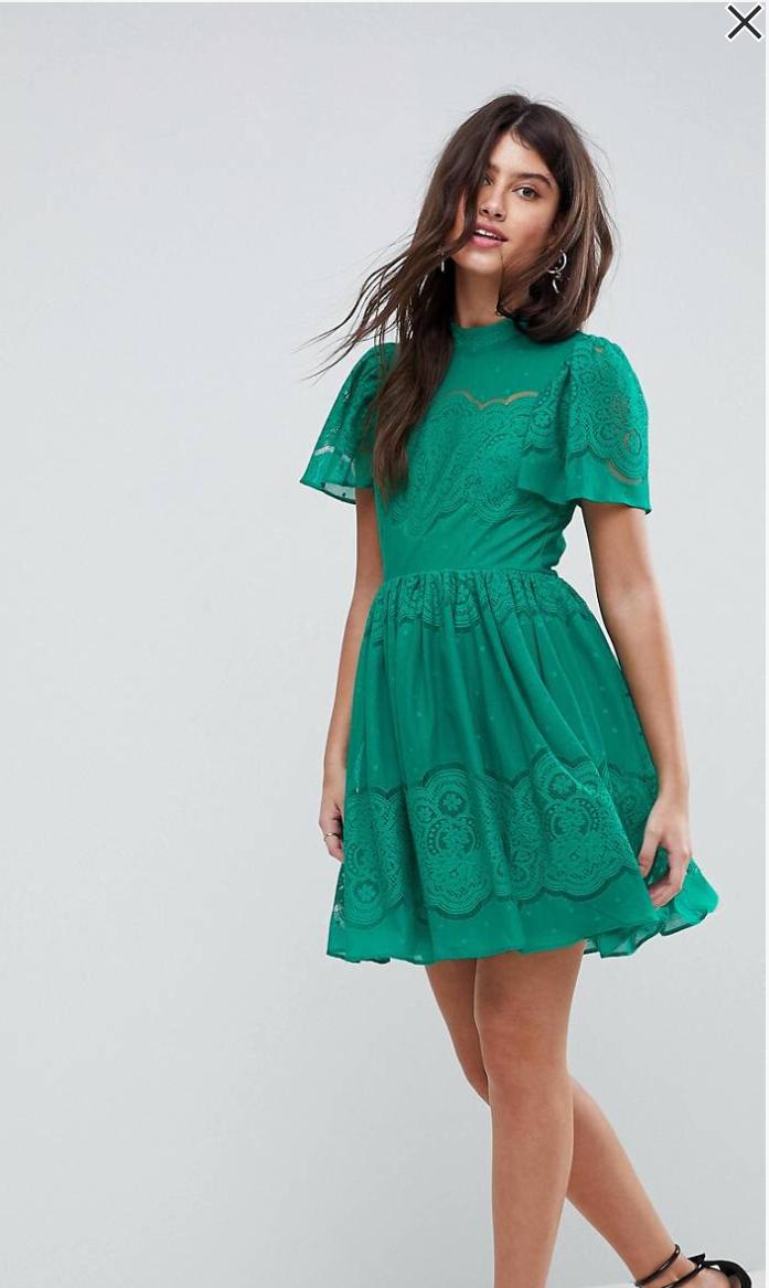 ASOS Lace Puff Sleeve Mini Dress