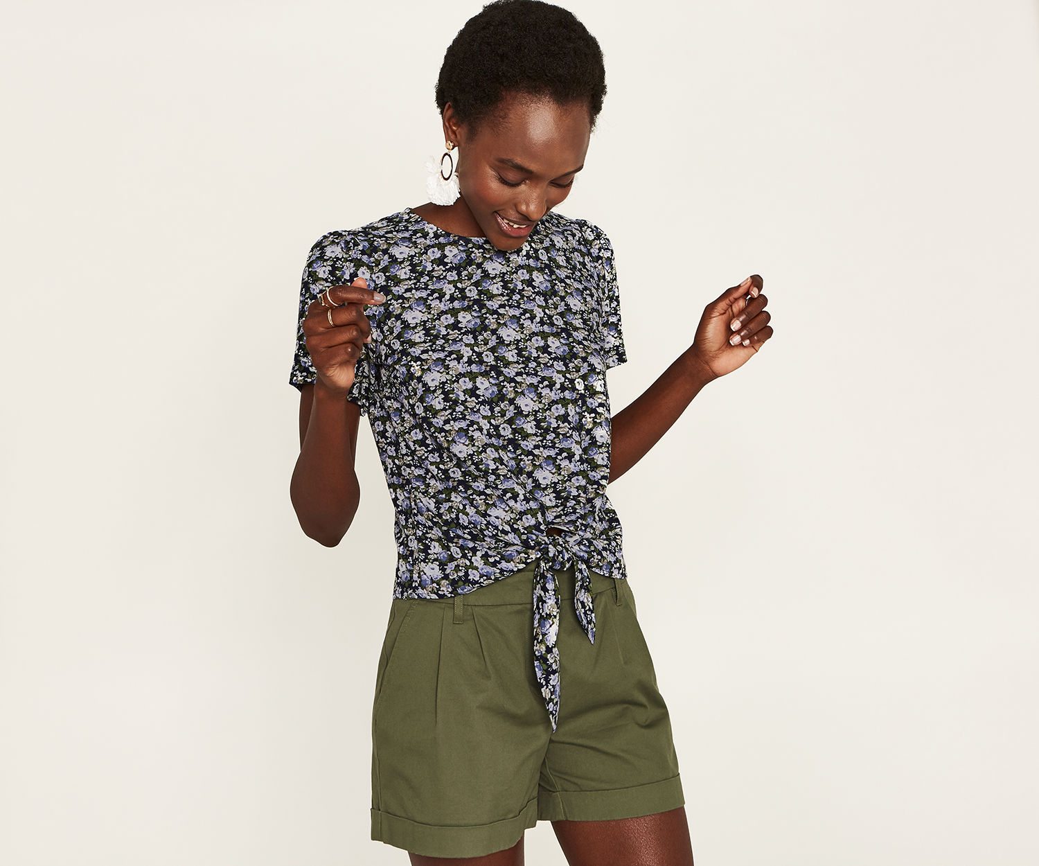 DITSY TIE FRONT TEE