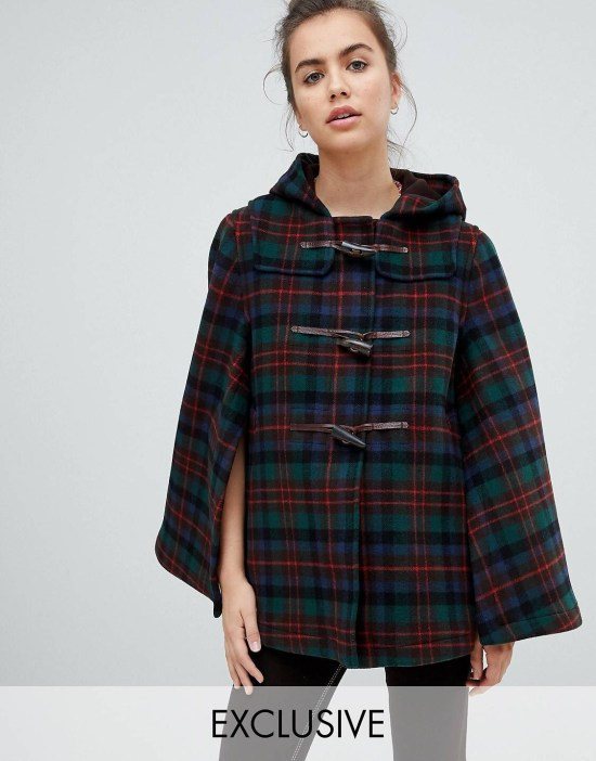 Gloverall Exclusive Cape Duffle in Tartan