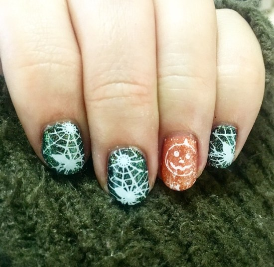 Cobweb and Pumpkin Nails