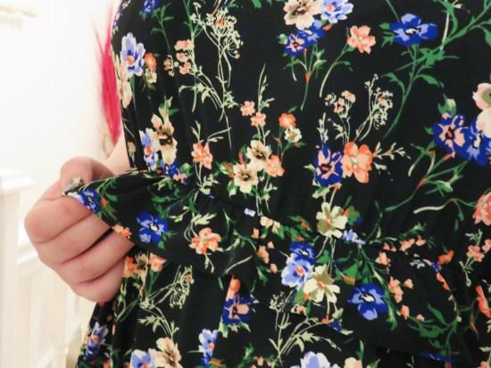 Floral frill waist dress - autumn fashion