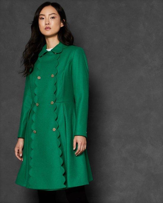Scallop trim wool swing coat