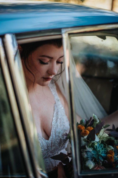 Bride in Car Wedding Photography