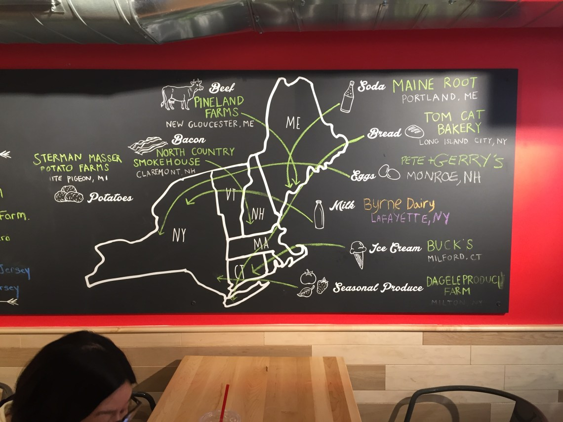 Map of where all of their ingredients are sourced. b.good Brooklyn