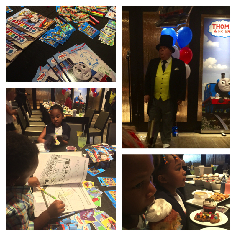 Clockwise: Sir Thopam Hatt, Cupcake and cookie decorating (eating), Coloring and sticker station.