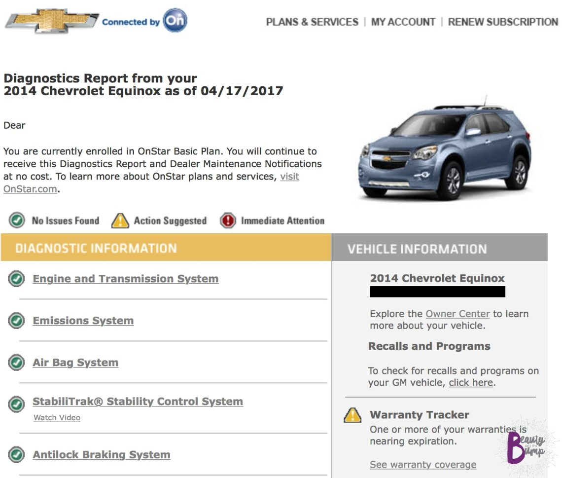 Chevrolet Equinox LT Monthly Diagnostics Report