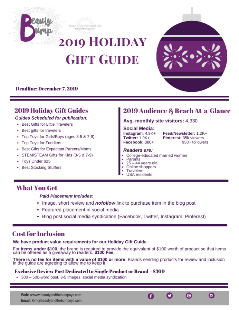 Beauty and the Bump NYC Holiday Gift Guide requirements and submissions