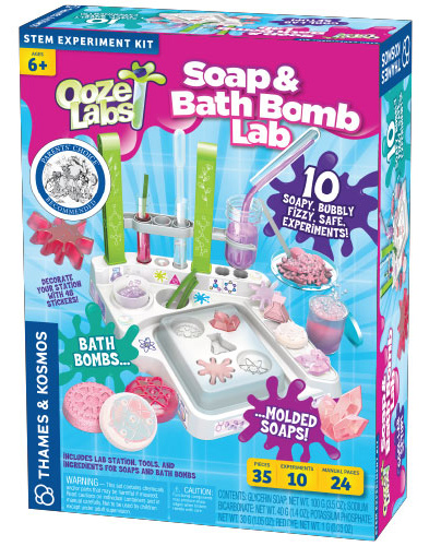 Ooze Labs: Soap and Bath Bomb Lab I know this isn't slime, but it's something fun for kids to mix up and create, while learning. With the Ooze Labs: Soap and Bath Bomb Lab, kids can pretend to be a chemist for a bath and body products company and it's their job to make and test different cosmetic products. As kids mold different glycerin soap shapes, they learn about the chemical properties of soap that help it pick up and wash away dirt. While they are making bath bombs, they learn about how acids and bases combine to form fizzing reactions, and what a pH level is. This is great for kids who want to expand their cosmetics knowledge with an overview of the biology of skincare and other science-related to soap and bath products.  All materials and chemicals are non-toxic.   Cost: $31.41 Where to buy: Amazon.com Age: 6+