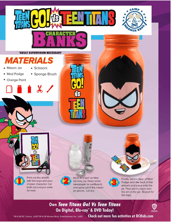 Camp Warner Bros. Week #5 Get crafty & learn financial responsibility with these adorable Teen Titans Go! Vs. Teen Titans Character Banks #CampWarnerBros