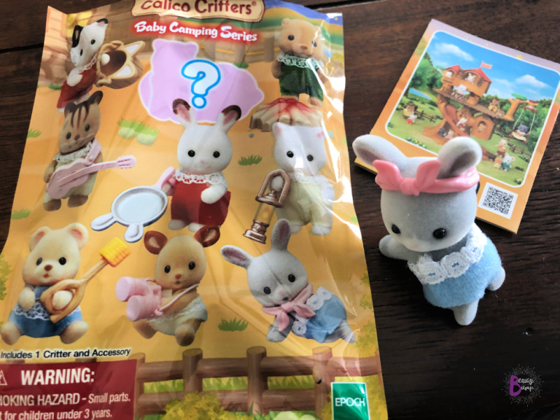 The Calico Critters Blind Bags are perfect for imaginative play whether home or on the road. The Baby Camping Series is the brand's 4th blind bag series which toddler Calico Critters fans can combine with other Calico Critters series like Family Trip Series, Adventure Treehouse, and Lakeside Lodge, for hours of creative imaginative play and fun.