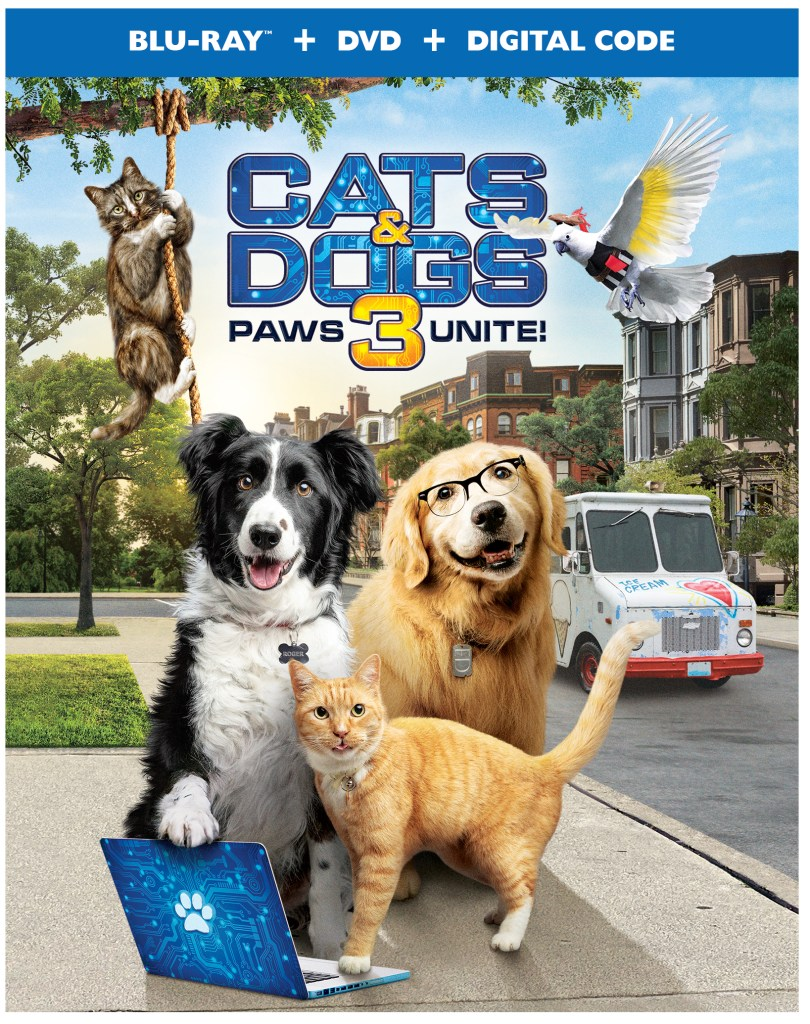 Out today! Cats & Dogs 3: Paws Unite! is a family movie featuring a new generation of four-footed and two-winged friends. #CatsandDogs3