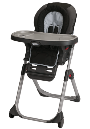 "The high chair can go in the bucket of ""Things that Help Mom Get Things Done"" because I can sit my baby in her high chair with a spoon or whatever toy to keep her busy, while I'm getting things done around the kitchen. Yeah, it's great for feedings too! We use the Graco Duo Diner LX."