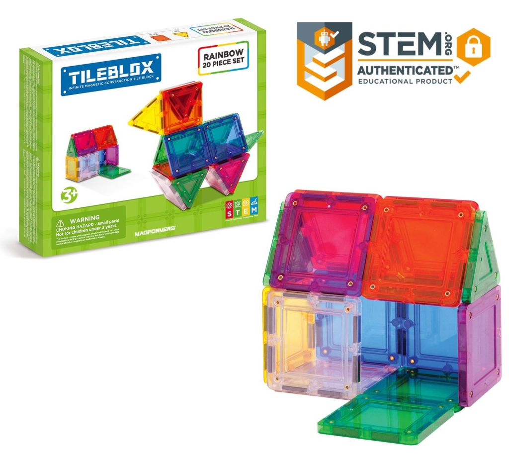 Discover the endless possibilities of the Tileblox 20Pc set. Kids ages 3+ can create a one-of-akind masterpiece with the help of the included step-by-step idea sheet. This beginnger set featuring 8 magnetic triangles and 12 magnetic squares in rainbow colors help children looking to explore and learn through play. TileBlox is perfect for STEM education and when playtime is over, use the magnetic power to simply stack and store.