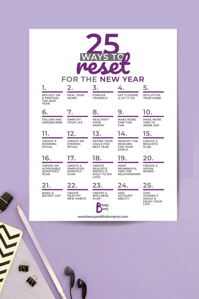 A new year means a new slate to start fresh. Before jumpstarting your goals for the new year ahead here are 25 ways to reset for the New Year.