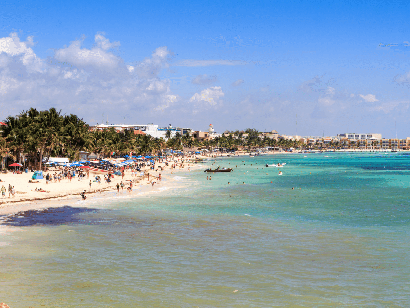 Playa del Carmen beach. Playa del Carmen is located just south of Cancun and has seen a recent boom in development. A wide variety of accommodations are available, and the town even hosts an American-run Waldorf School for kids of all ages.