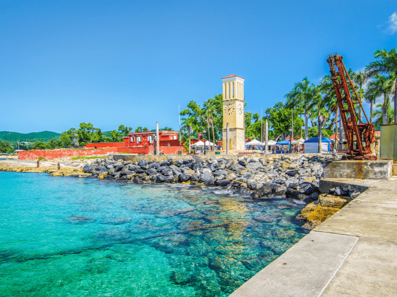 On the west end of St. Croix is Frederiksted, the other major town of the island. Frederiksted is a cruise port and has souvenir shops, more duty-free shopping, restaurants, and hotels.