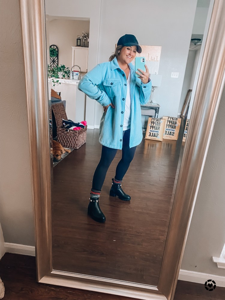 NSale 2021 shacket, leggings, and studded booties outfit