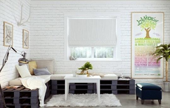 meubles-palettes-diy-banc-noir-mur-briques-blanches
