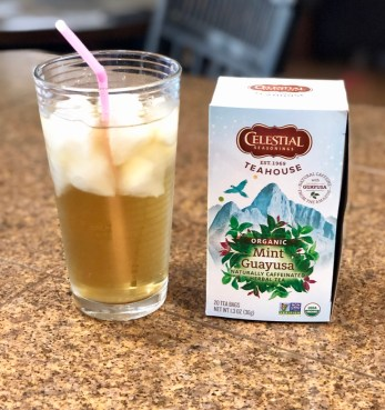 Cold Brew Iced Tea in Glass with Box of Mint Tea