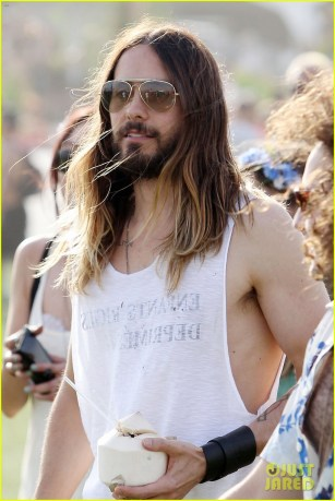 Jared Leto rocks Zebra Print Leggings at Coachella **USA ONLY**