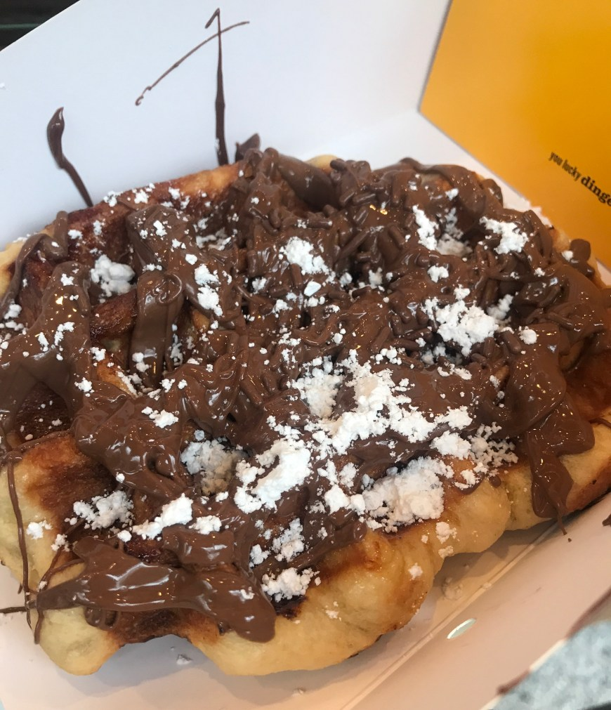 Nutella and Banana Waffle from Waffles and Dinges in New York City #nyc #food #travel #wanderlust #foodie #travelguide #restaurant #restaurantguide #nyceats