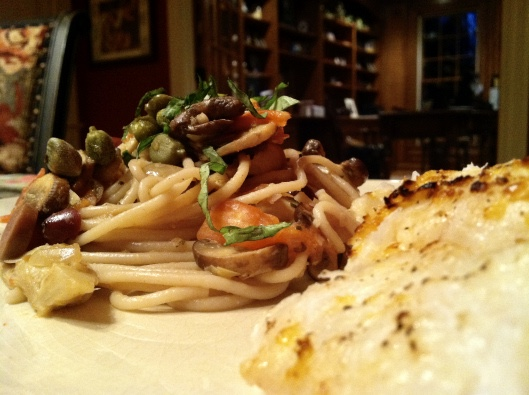 Italian Artichoke Pasta with Broiled Hake Fish by BeautyBeyondBones #cooking #food #glutenfree #paleo #foodie #edrecovery