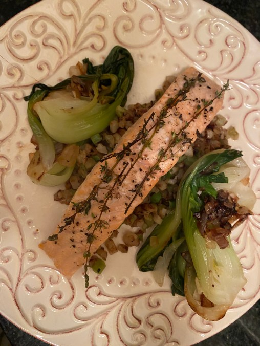 Thyme Roasted Salmon by BeautyBeyondBones #seafood #pescatarian #salmon #dinner #glutenfree #paleo #grainfree #food #edrecovery #cooking #healthyfood