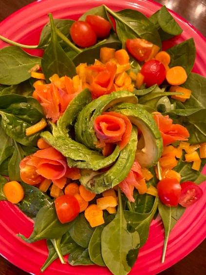 Smoked salmon and avocado salad by BeautyBeyondBones! #food #pescatarian #paleo #keto #family #healthyfood #edrecovery #salad #health #wellness
