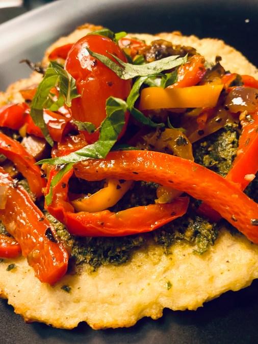 Keto Pesto Pizza! By BeautyBeyondBones #pizza #keto #glutenfree #grainfree #paleo #healthyfood #edrecovery #food