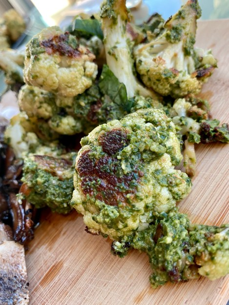 THE PERFECT STEAK! Basted with butter, thyme and garlic and seared to perfection!! Paired with pesto cauliflower, this keto date night dinner will blow you away! #glutenfree #paleo #keto #lowcarb #steak #cooking #edrecovery #food #recipes