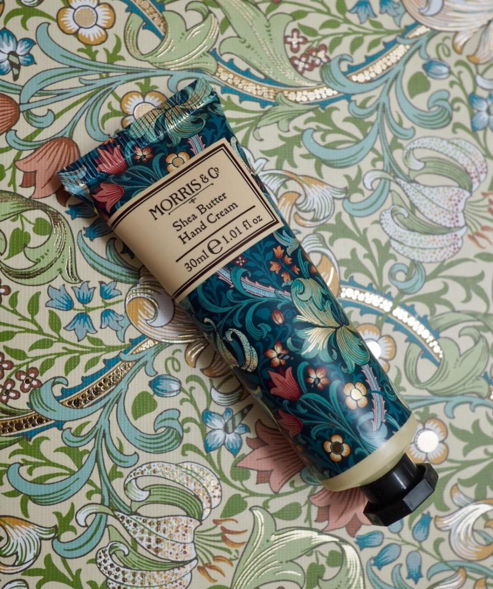 Morris and Co Gift Collection from Heathcote and Ivory Golden Lily Hand Cream with vintage patterned multicoloured packaging