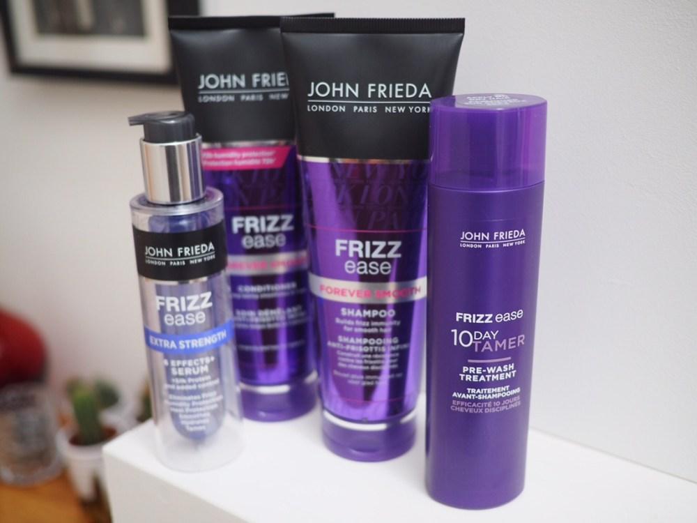 New Look John Frieda Frizz Ease Review 4 purple bottles