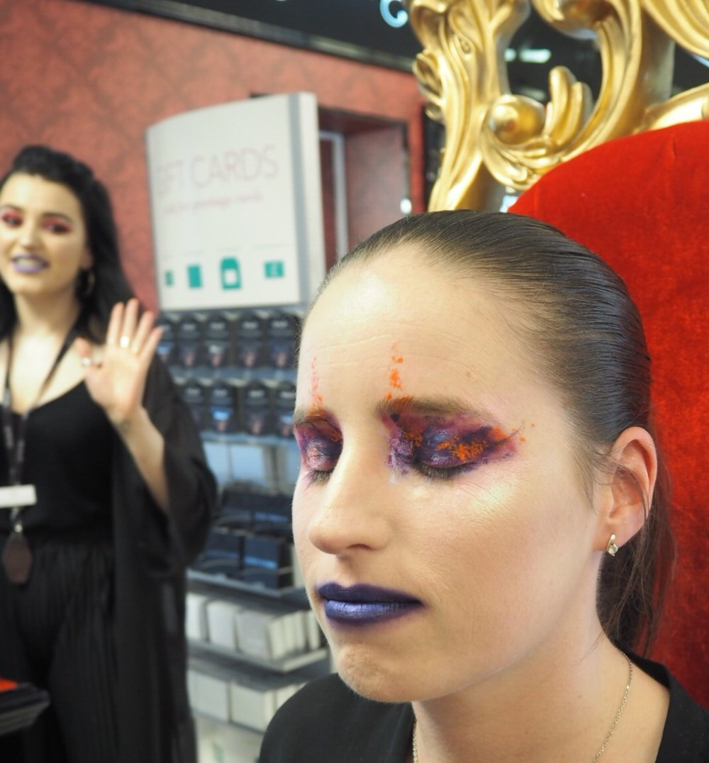 Kat Von D Makeup- The Finished Look- colourful eye makeup, navy lips and iridescent highlight