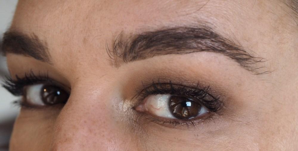 Makeup Revolution Soph X Eyeshadow Palette Eye Look- close up of eyes with brown eyeshadow