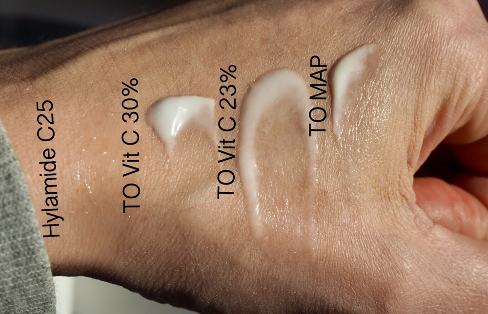 The Ordinary Vitamin C Hand Swatches