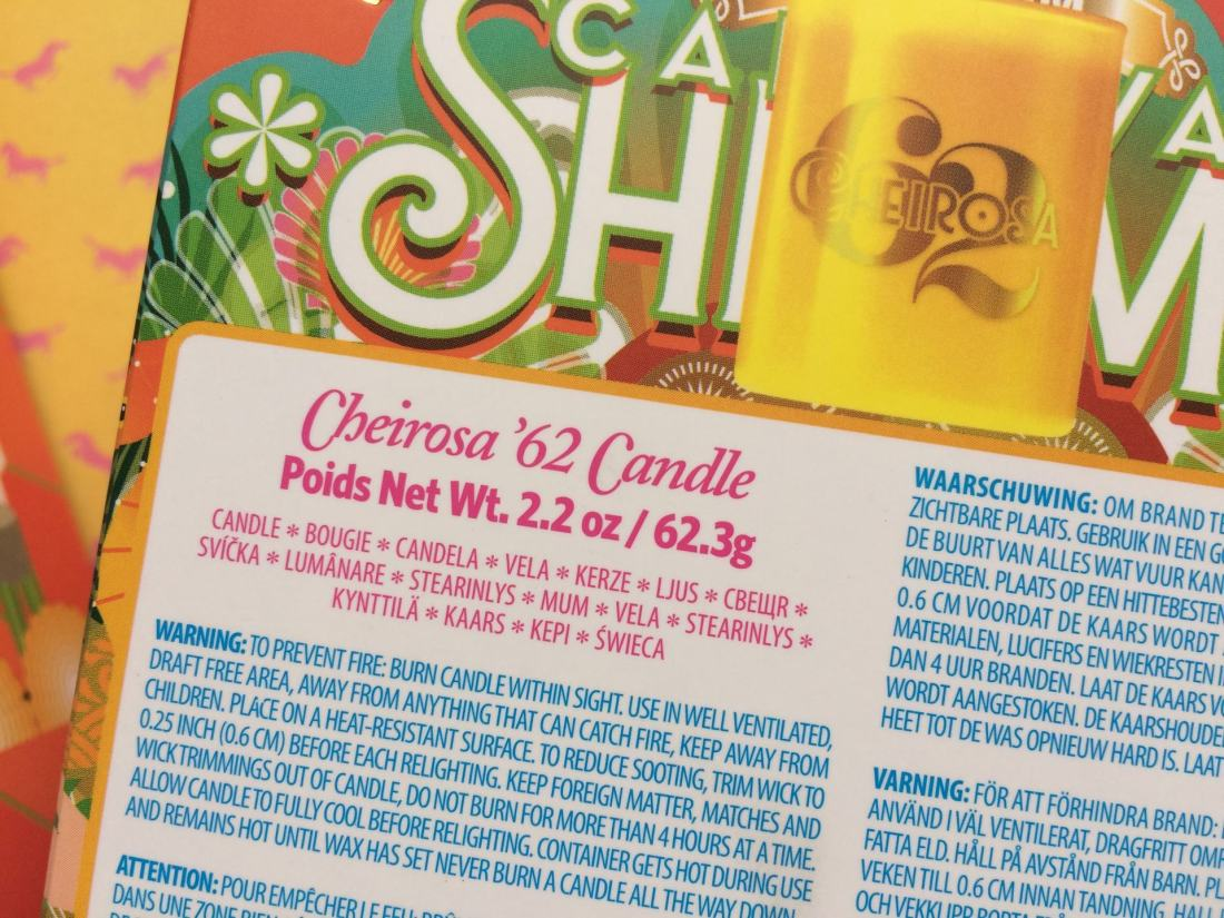 Cheirosa '62 candle ingredients