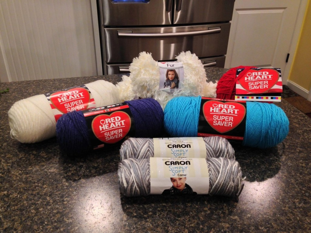 Red Heart and Caron Simply Soft yarns