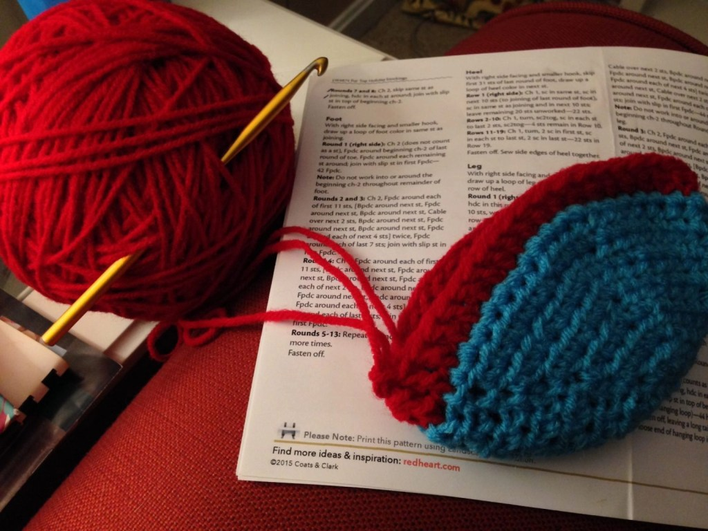 Red Heart Fur Top Holiday Stocking In Progress