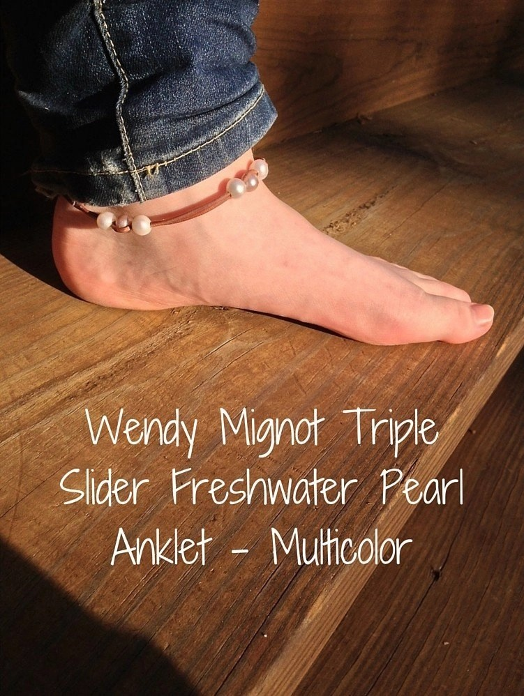 Step Into Summer Style - Wendy Mignot Triple Slider Freshwater Pearl Anklet - Multicolor