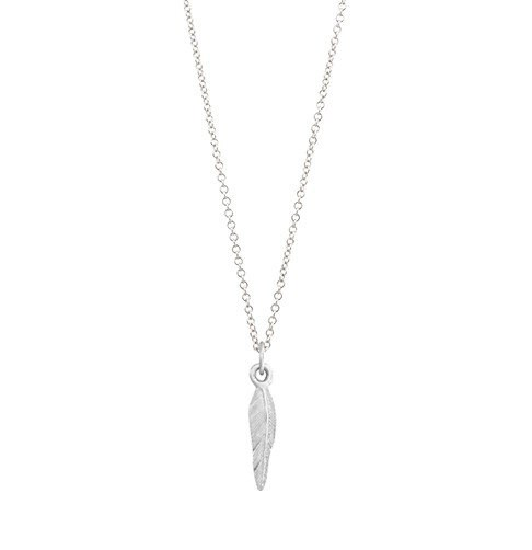 Sterling Silver Feather Big Mini Charm Necklace