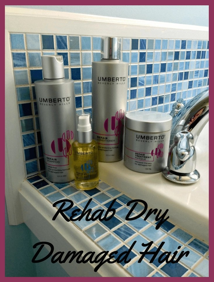 Rehab Dry Damaged Hair - Umberto Beverly Hills Hair Care-Repair Shampoo- Repair Conditioner-Repair Treatment Masque-Roman Oil Serum