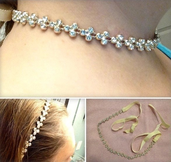 Scunci Rhinestone Ribbon Metal Flower Choker Headwrap