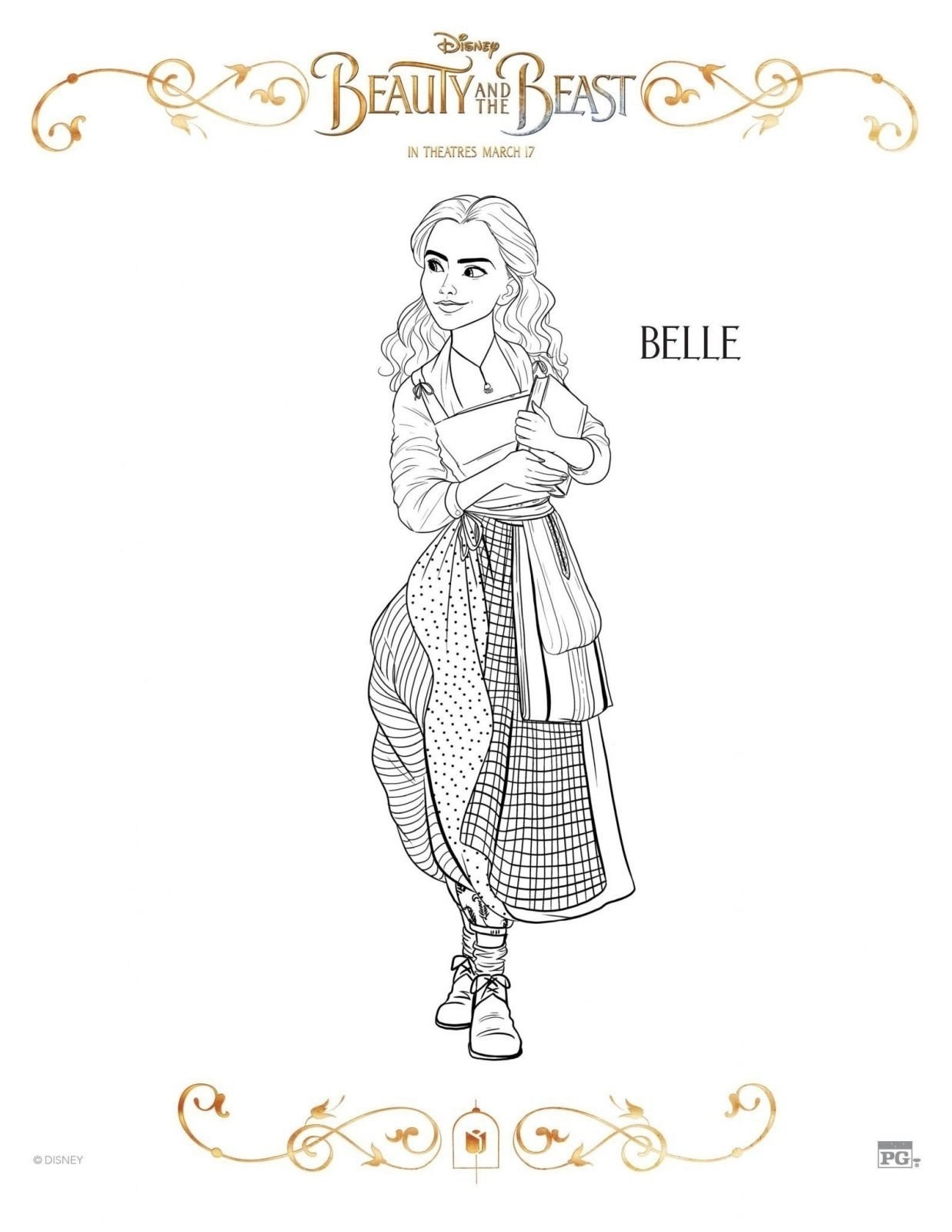 Belle Beauty and the Beast Coloring Sheet