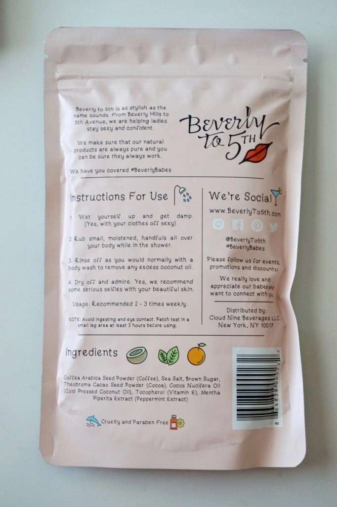 Beverly to 5th Coffee Scrubs Back of Packaging