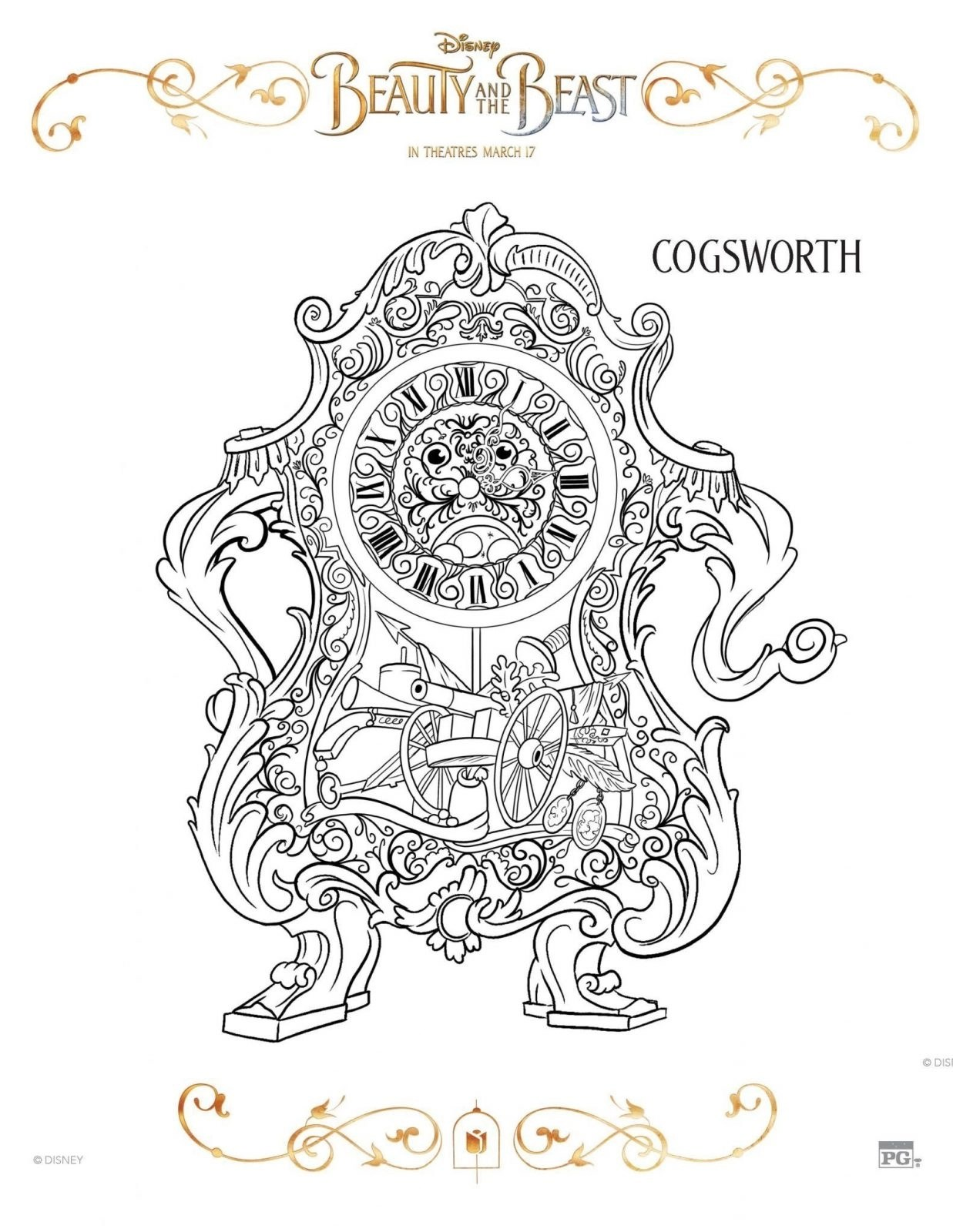 Cogsworth Beauty and Beast Coloring Sheet