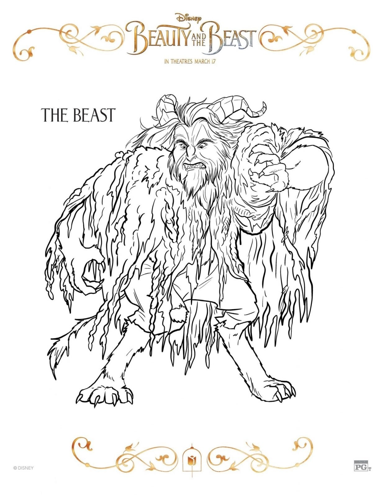 The Beast Beauty and the Beast Coloring Sheet