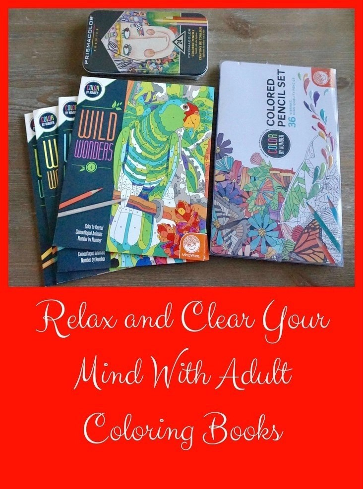 Relax and Clear Your Mind With Adult Coloring Books - MindWare Wild Wonders Color by Number Books and Prismacolor Colored Pencils